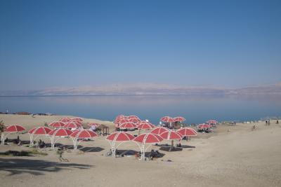 Vue generale de la plage Ein Gedi Mer morte